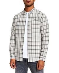 River Island Ecru Regular Fit Check Flannel Shirt