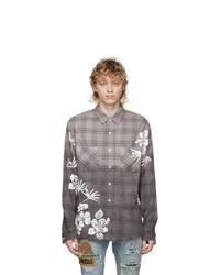 Amiri Grey Bleach Floral Plaid Shirt
