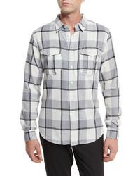 Plaid flannel woven shirt gray pattern medium 962349