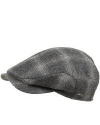 Wigens Wool Plaid Cap Ear Flaps Light Grey