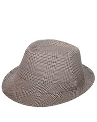 MCap Plaid Fedora Hat Beige Medium