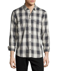 Albion check plaid long sleeve sport shirt graywhite medium 456130