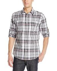 DKNY Jeans Long Sleeve Roll Tab Large Slub Plaid Shirt