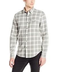 DKNY Jeans Long Sleeve Yarn Dye Heather Plaid Twill Shirt 062