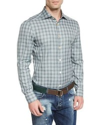 Plaid woven sport shirt olive medium 713302