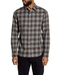 Vince Slim Fit Plaid Button Up Shirt