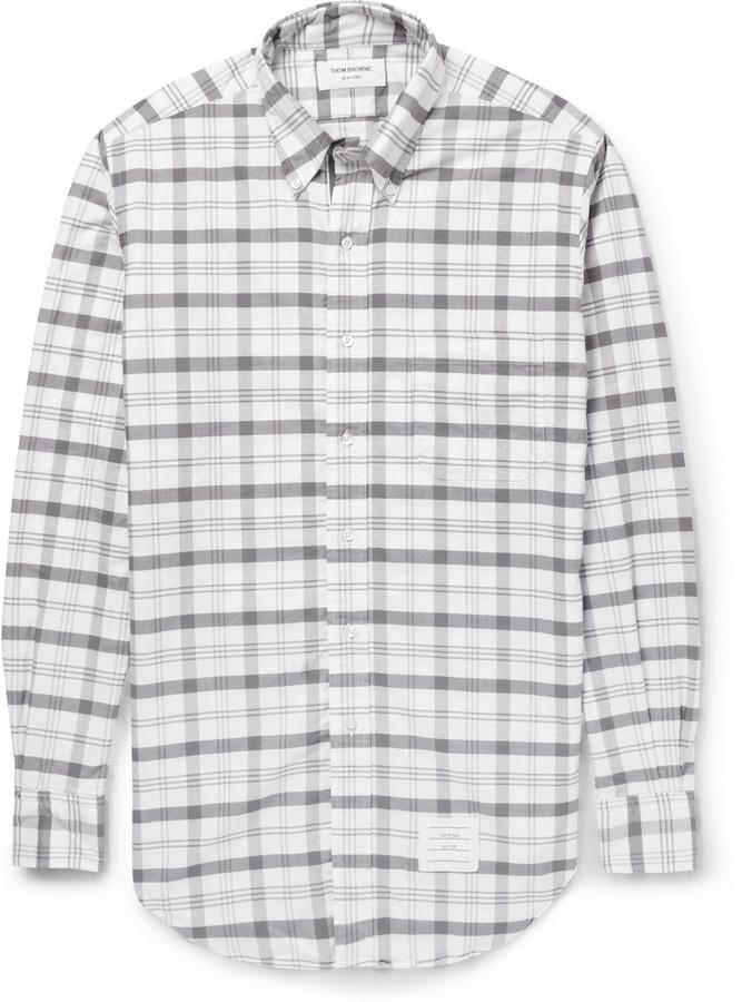 Grey plaid long sleeve shirt thom browne plaid cotton for Grey plaid shirt womens