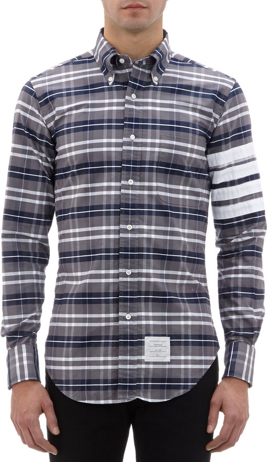 Thom browne varsity stripe plaid button down shirt for Where to buy button down shirts