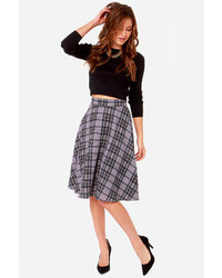 Moon collection me tartan you jane grey plaid midi skirt medium 123692