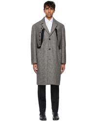 Maison Margiela Black Wool Check Cut Out Coat