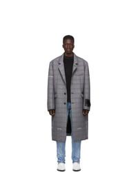 Off-White Grey Check Wool Volume Coat