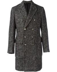 Hevo Herringbone Pattern Double Breasted Coat