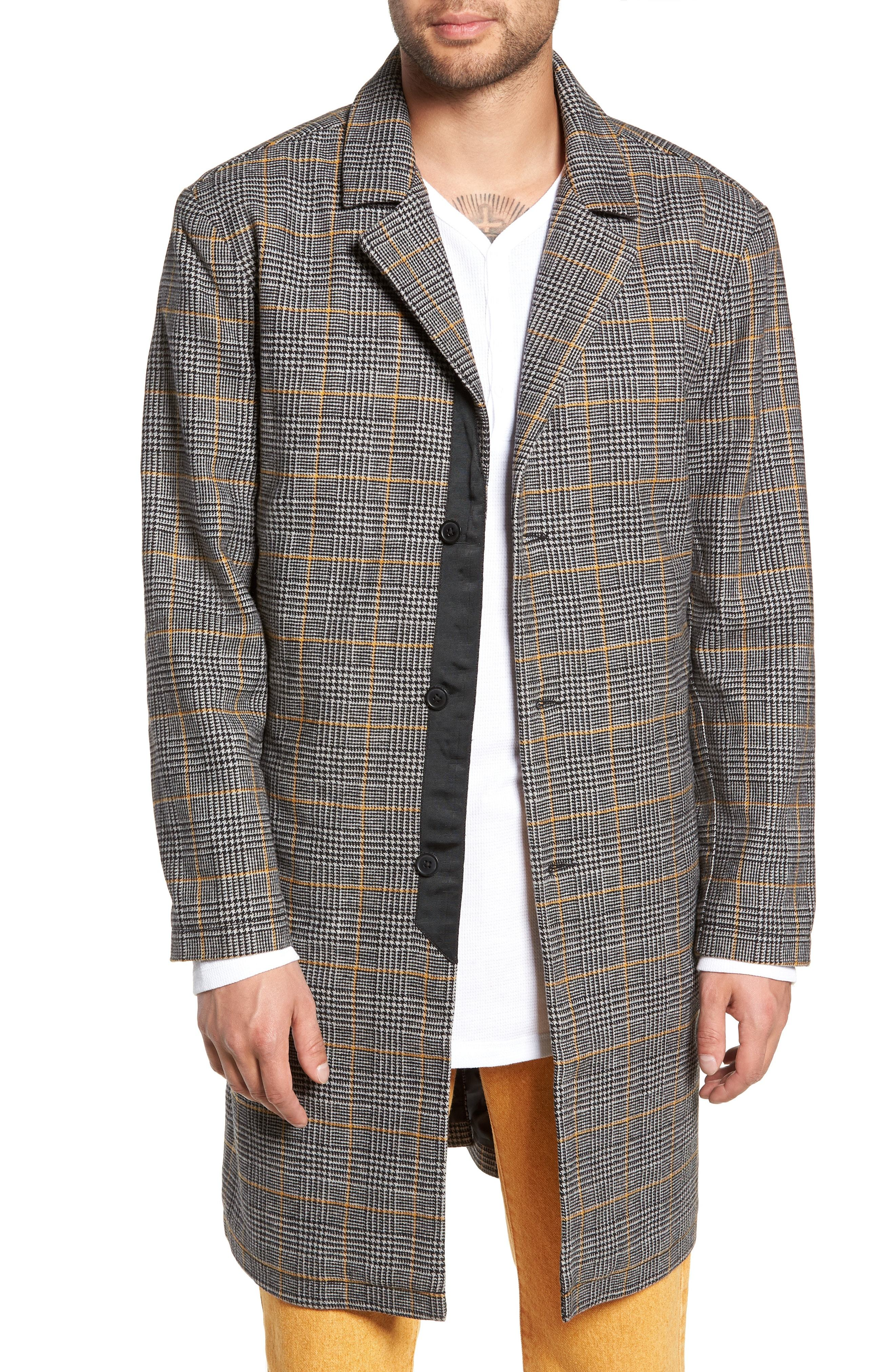 The Rail Houndstooth Plaid Overcoat
