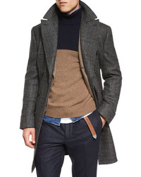 Brunello Cucinelli Plaid Double Breasted Wool Overcoat Gray