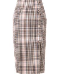 Veronica Beard Melor Checked Cotton Blend Midi Skirt