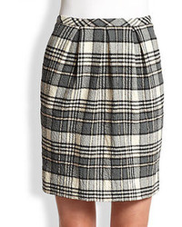 Pleat front plaid pencil skirt medium 75374