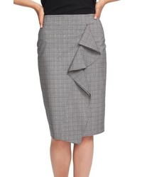 1 STATE Ruffle Glen Plaid Pencil Skirt