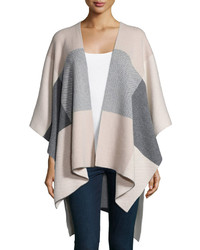 Cashmere collection intarsia plaid cashmere poncho medium 344872