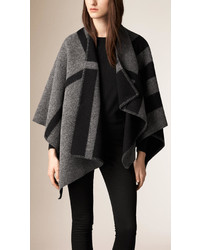Burberry Check Wool And Cashmere Blanket Poncho