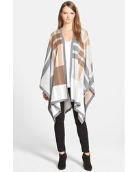 Nocho plaid knit open front poncho medium 344871