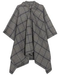 Balenciaga Plaid Cashmere And Wool Blend Poncho Gray