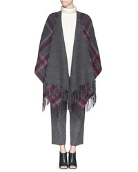 Theory Saiome Check Plaid Felted Wool Poncho
