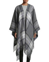 Saiome plaid wool blend poncho medium 344870