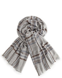 Loro Piana Banbury Cashmere Silk Plaid Scarf Gray