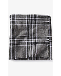 Express Black And Gray Plaid Scarf