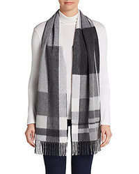 Saks Fifth Avenue BLACK Blocked Plaid Cashmere Scarf