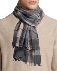 Neiman Marcus Box Plaid Wool Scarf Derby Grayarmy Green
