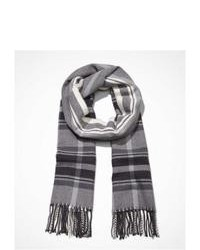 Express Plaid Fringed Scarf Gray