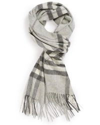 Heritage giant check fringed cashmere muffler medium 190238
