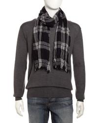 Neiman Marcus Lightweight Crinkled Wool Plaid Scarf Bluegray
