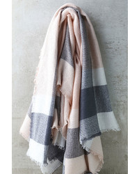 LuLu*s Cheering Section Blush Pink Plaid Scarf