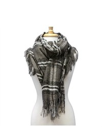 Luxury Divas Grey Black White Soft Checker Winter Twill Scarf Wrap Shawl