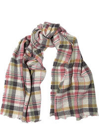 Isabel Marant Matt Plaid Linen And Wool Blend Scarf