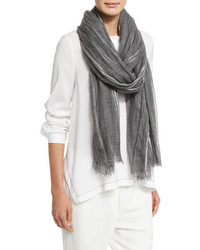 Brunello Cucinelli Metallic Plaid Knit Scarf Gray