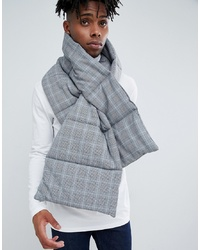 ASOS DESIGN Padded Scarf In Black Prince Of Wales Check