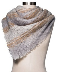 Merona Plaid Scarf Gray And Cream Stripe