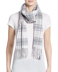 Saks Fifth Avenue Plaid Cashmere Scarf
