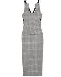 Roland Mouret Med Checked Wool Blend Midi Dress