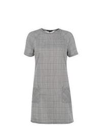 New Look Grey Check Cap Sleeve Shift Dress