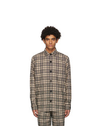 Schnaydermans Black And Khaki Wool Checked Over Shirt