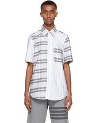 Thom Browne Grey Striped Straight Fit Short Sleeve Shirt
