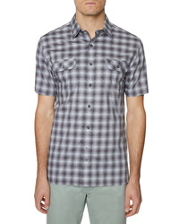 Hickey Freeman Plaid Bond Short Sleeve Button Up Shirt