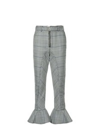 Self-Portrait Checked Flared Hem Trousers