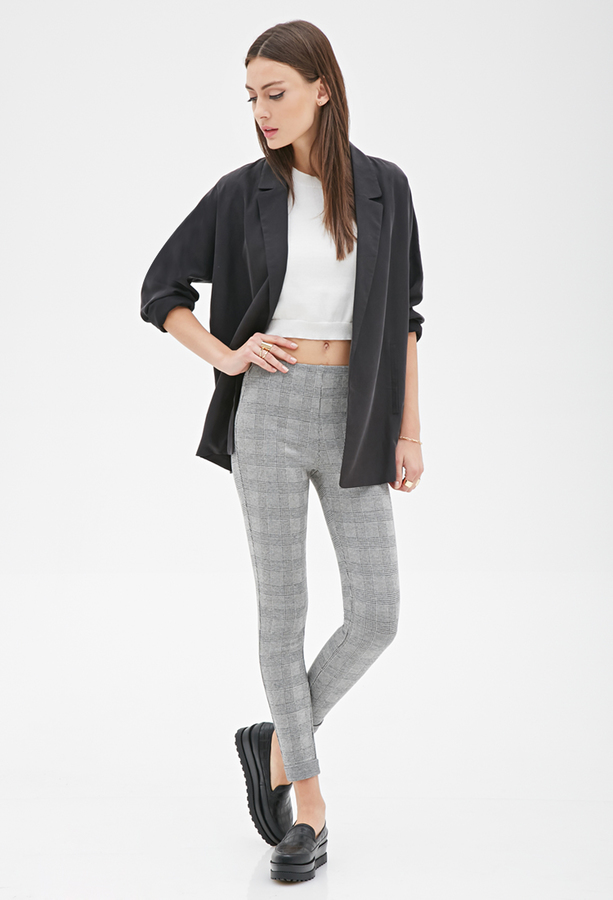 60bf5885506fa Forever 21 Glen Plaid Print Leggings, $19 | Forever 21 | Lookastic.com