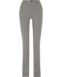 Balenciaga Plaid Wool Blend Skinny Pants Gray
