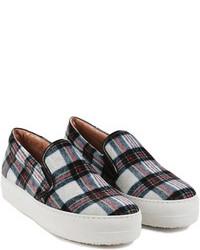 Grey Plaid Slip-on Sneakers